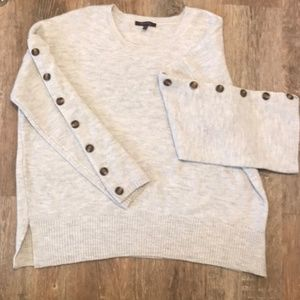 Size 1x Gray Button Sleeve Sweater